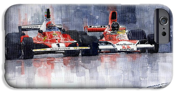Watercolors Paintings iPhone Cases - Lauda vs Hunt Long Beach US GP 1976  iPhone Case by Yuriy Shevchuk
