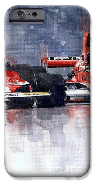 Lauda vs Hunt Long Beach US GP 1976  iPhone Case by Yuriy Shevchuk