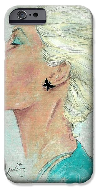 Beautiful Faces Paintings iPhone Cases - Laugh often iPhone Case by P J Lewis
