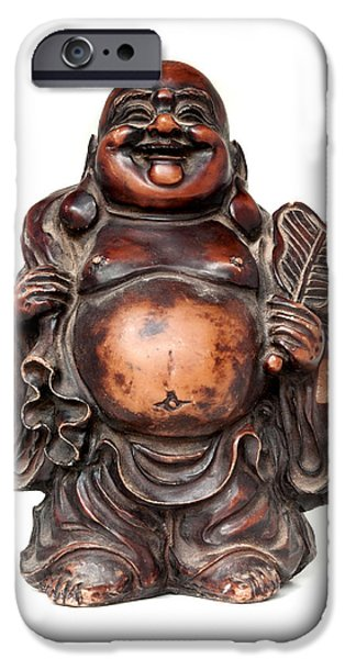 Cut-outs iPhone Cases - Laughing Buddha iPhone Case by Fabrizio Troiani