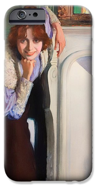 Chin On Hand Paintings iPhone Cases - Laughing Lady iPhone Case by Rusinol