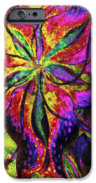 Poetic Mixed Media iPhone Cases - Laughing Lily Abstract Expressionism iPhone Case by Georgiana Romanovna