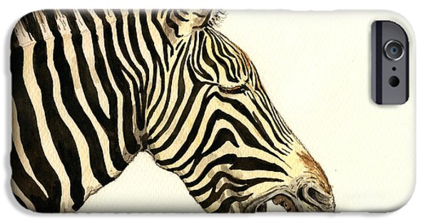 Nature Study Paintings iPhone Cases - Laughing zebra iPhone Case by Juan  Bosco