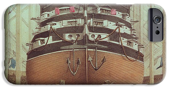 Victorian Drawings iPhone Cases - Launch of HMS Royal Albert iPhone Case by English School