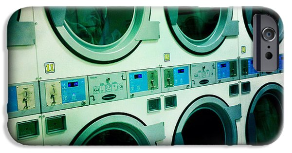 Electrical Equipment iPhone Cases - Laundromat iPhone Case by Nina Prommer