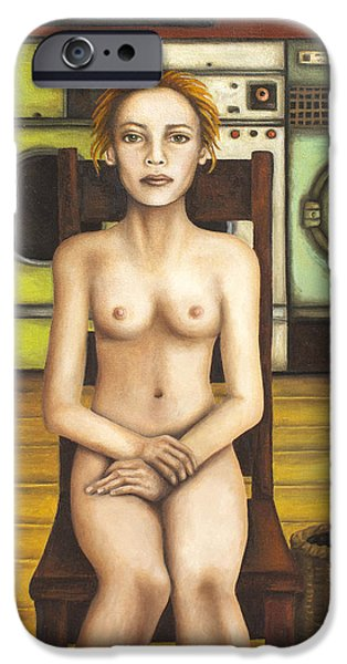 Nudity iPhone Cases - Laundry Day 5 iPhone Case by Leah Saulnier The Painting Maniac