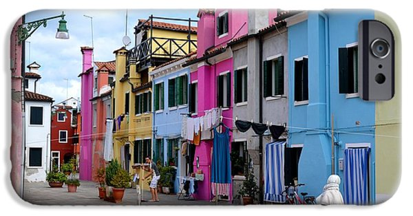 Canal Street Line iPhone Cases - Laundry Day In Burano Venice 1 iPhone Case by Ana Maria Edulescu