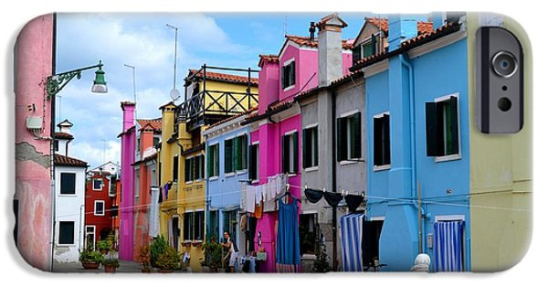 Canal Street Line iPhone Cases - Laundry Day In Burano Venice 3 iPhone Case by Ana Maria Edulescu