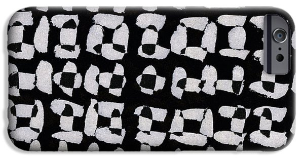 Monochromatic Digital Art iPhone Cases - Laura Series Making Marks 544A1 iPhone Case by Carol Leigh