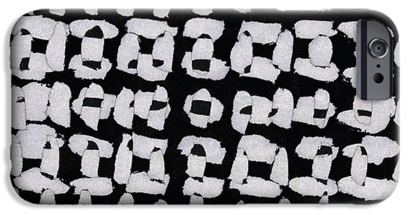 Monochromatic Digital Art iPhone Cases - Laura Series Making Marks 544A2 iPhone Case by Carol Leigh
