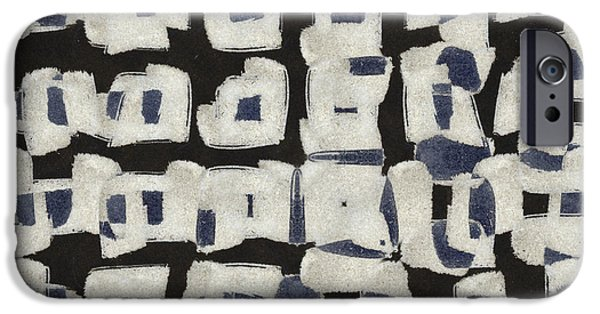 Monochromatic Digital Art iPhone Cases - Laura Series Making Marks 545B2 iPhone Case by Carol Leigh