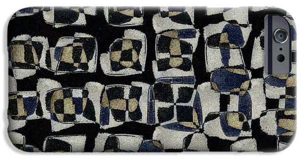 Monochromatic Digital Art iPhone Cases - Laura Series Making Marks 545B3 iPhone Case by Carol Leigh