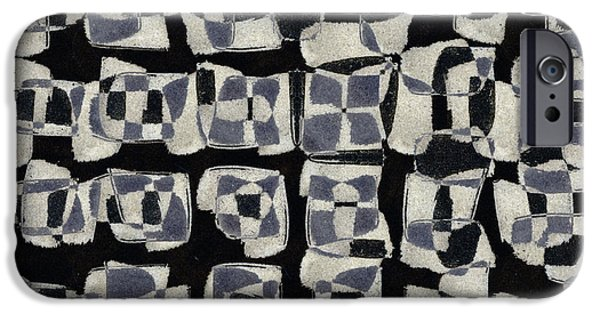 Monochromatic Digital Art iPhone Cases - Laura Series Making Marks 545J1 iPhone Case by Carol Leigh