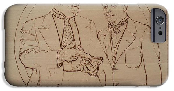 Film Pyrography iPhone Cases - Laurel And Hardy - Thicker Than Water iPhone Case by Sean Connolly