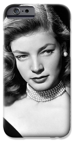 Film Noir iPhone Cases - Lauren Bacall Glamour Portrait iPhone Case by Nomad Art And  Design