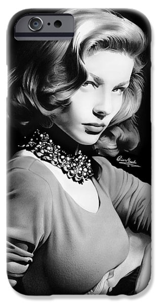 1950s Movies iPhone Cases - Lauren Bacall iPhone Case by Liam  York