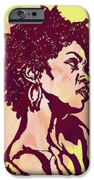 American ist Mixed Media iPhone Cases - Lauryn hill b w -  Modern colour etching art  poster iPhone Case by Kim Wang