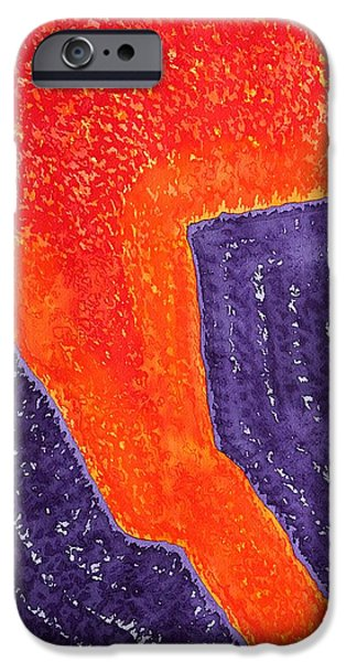Printmaking iPhone Cases - Lava Flow original painting iPhone Case by Sol Luckman