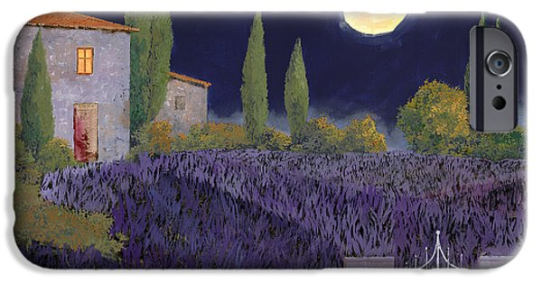 Window Paintings iPhone Cases - Lavanda Di Notte iPhone Case by Guido Borelli