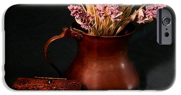 Still Life With Old Pitcher iPhone Cases - Lavender and Copper iPhone Case by Grace Dillon