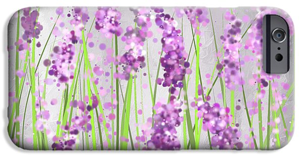 Purple Art iPhone Cases - Lavender Blossoms - Lavender Field Painting iPhone Case by Lourry Legarde