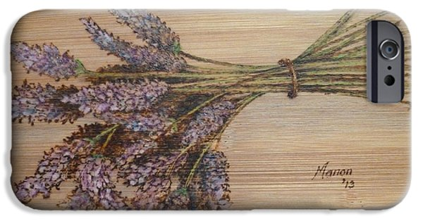 Lavender Pyrography iPhone Cases - Lavender bunch iPhone Case by Manon  Massari