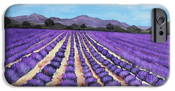 Rhone Alpes iPhone Cases - Lavender Field in Provence iPhone Case by Anastasiya Malakhova