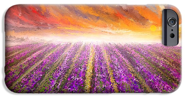 Purple And Green iPhone Cases - Lavender Field Painting - Impressionist iPhone Case by Lourry Legarde