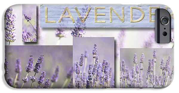 Waterscape Mixed Media iPhone Cases - Lavender Fields Purple Pink Collage iPhone Case by Anahi DeCanio - ArtyZen Studios