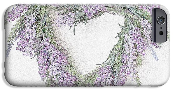 Lilacs Drawings iPhone Cases - Lavender Heart iPhone Case by Sharon Lisa Clarke
