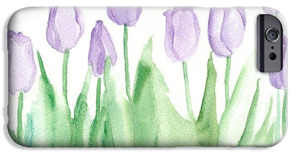 Flora Drawings iPhone Cases - Lavender Mist Tulips iPhone Case by Cathie Richardson
