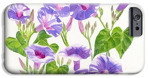 Morning iPhone Cases - Lavender Morning Glory Flowers iPhone Case by Sharon Freeman