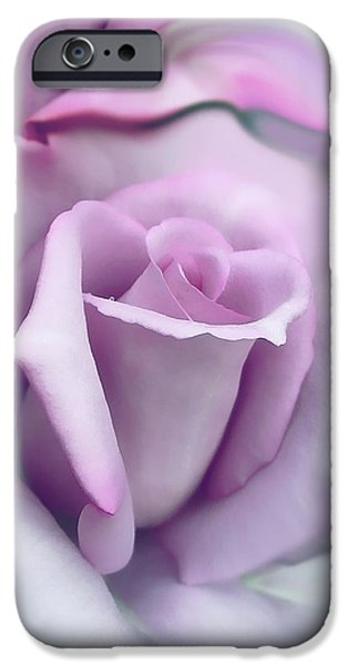 Rose Petals iPhone Cases - Lavender Rose Flower Portrait iPhone Case by Jennie Marie Schell