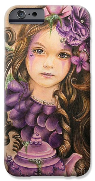 Tea Party Mixed Media iPhone Cases - Lavender  iPhone Case by Sheena Pike