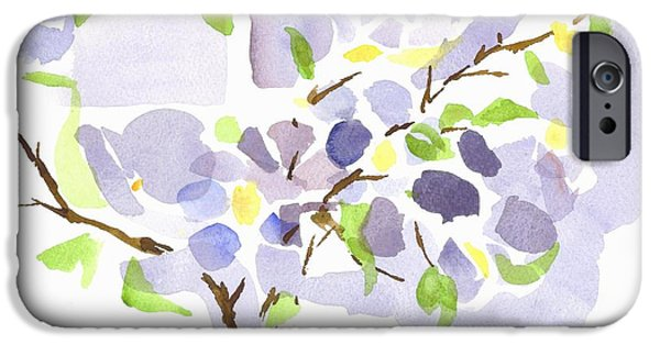 Dog In Landscape iPhone Cases - Lavender with Missouri Dogwood in the Window iPhone Case by Kip DeVore
