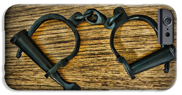 Law Enforcement iPhone Cases - Law Enforcement - Antique Handcuffs iPhone Case by Paul Ward