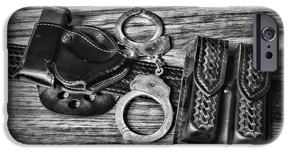 Law Enforcement iPhone Cases - Law Enforcement - Police - Duty Belt in Black and White iPhone Case by Paul Ward