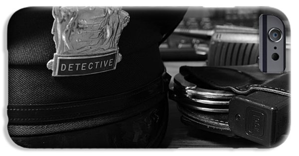 Law Enforcement iPhone Cases - Law Enforcement - The Detective in Black and White iPhone Case by Paul Ward