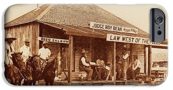 Figure iPhone Cases - Law West of the Pecos iPhone Case by Pg Reproductions