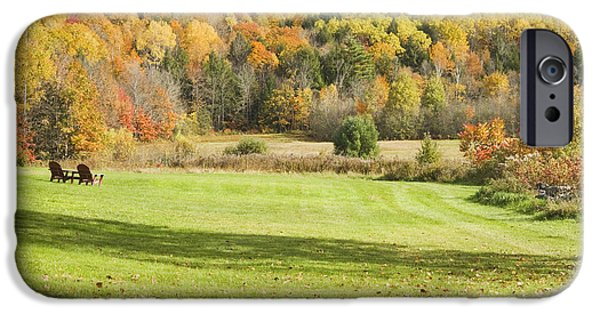 Autumn In New England iPhone Cases - Lawn Chairs Overlooking Autumn Landscape in Vienna Maine iPhone Case by Keith Webber Jr