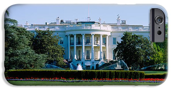 White House iPhone Cases - Lawn In Front Of A Government Building iPhone Case by Panoramic Images