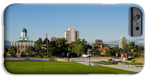 Capitol Hill iPhone Cases - Lawn With Salt Lake City Council Hall iPhone Case by Panoramic Images