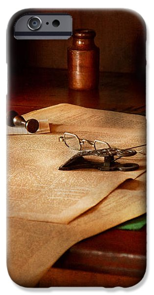 Lawyer - Optician - Reading the fine print  iPhone Case by Mike Savad