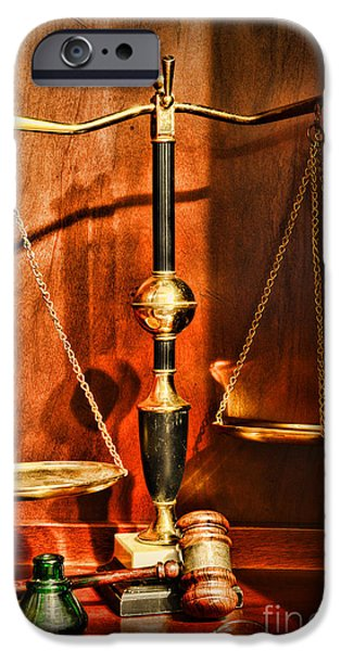 Constitution iPhone Cases - Lawyer - Scales of Justice iPhone Case by Paul Ward
