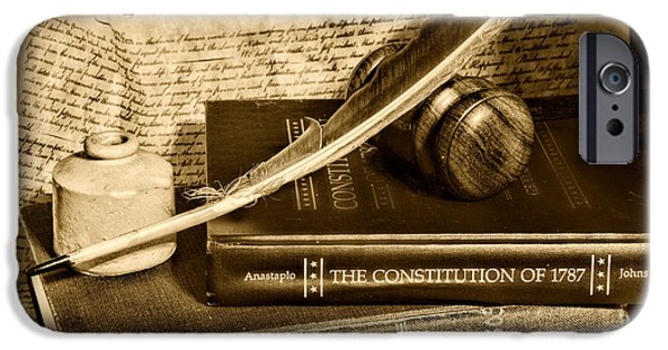 Constitution iPhone Cases - Lawyer - The Constitutional Lawyer in black and white iPhone Case by Paul Ward