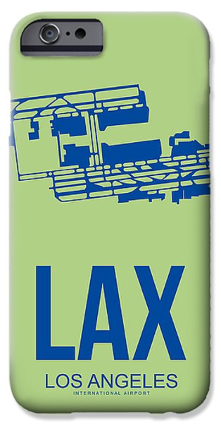 Town iPhone Cases - LAX Airport Poster 1 iPhone Case by Naxart Studio