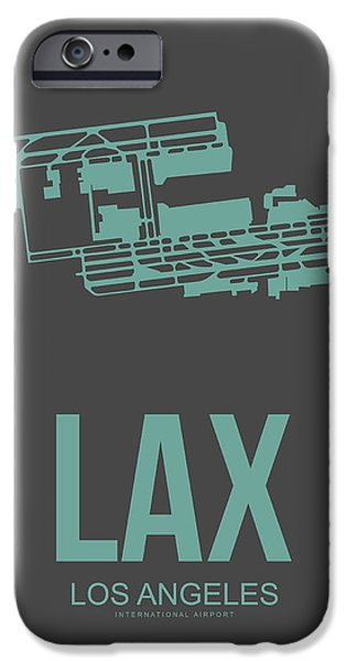 Town iPhone Cases - LAX Airport Poster 2 iPhone Case by Naxart Studio
