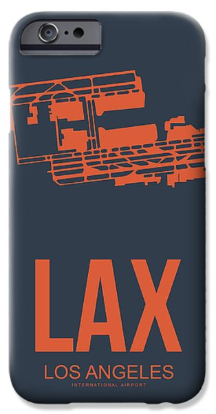 Town Mixed Media iPhone Cases - LAX Airport Poster 3 iPhone Case by Naxart Studio