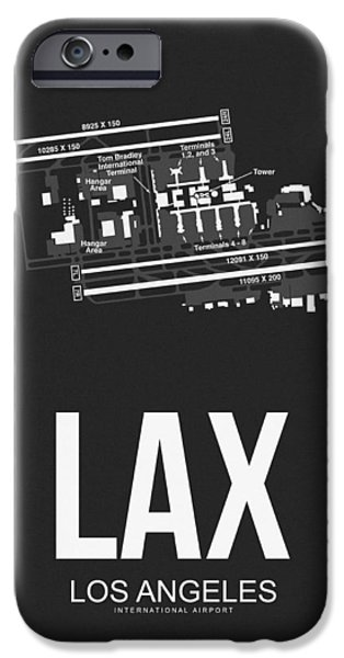 Town iPhone Cases - LAX Los Angeles Airport Poster 3 iPhone Case by Naxart Studio