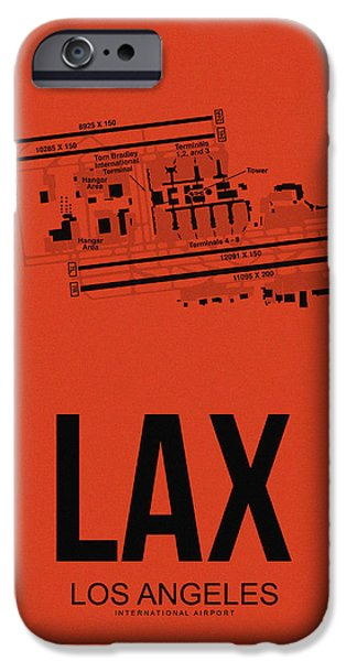 Towns Digital Art iPhone Cases - LAX Los Angeles Airport Poster 4 iPhone Case by Naxart Studio